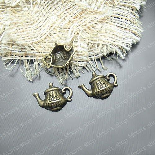 Wholesale Antique Bronze Teapot Alloy Charms Pendants DIY Findings 20 pieces(JM766)