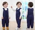 Nueva Llegada 2016 Pantalones de Los Muchachos de Los Niños del Pato Abajo Invierno Cálido pantalones De Las Niñas Abajo Correa Babero Pantalones Unisex 4 Color