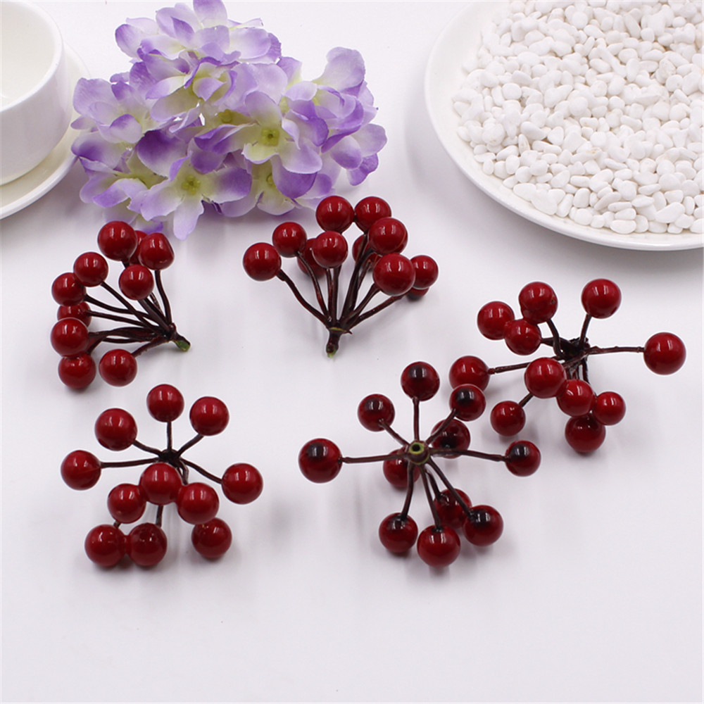 11pcs    Fake Fruit Small Berries Artificial Flower cherry Bouquet Stamen Pearlized Wedding Home Christmas Decorative