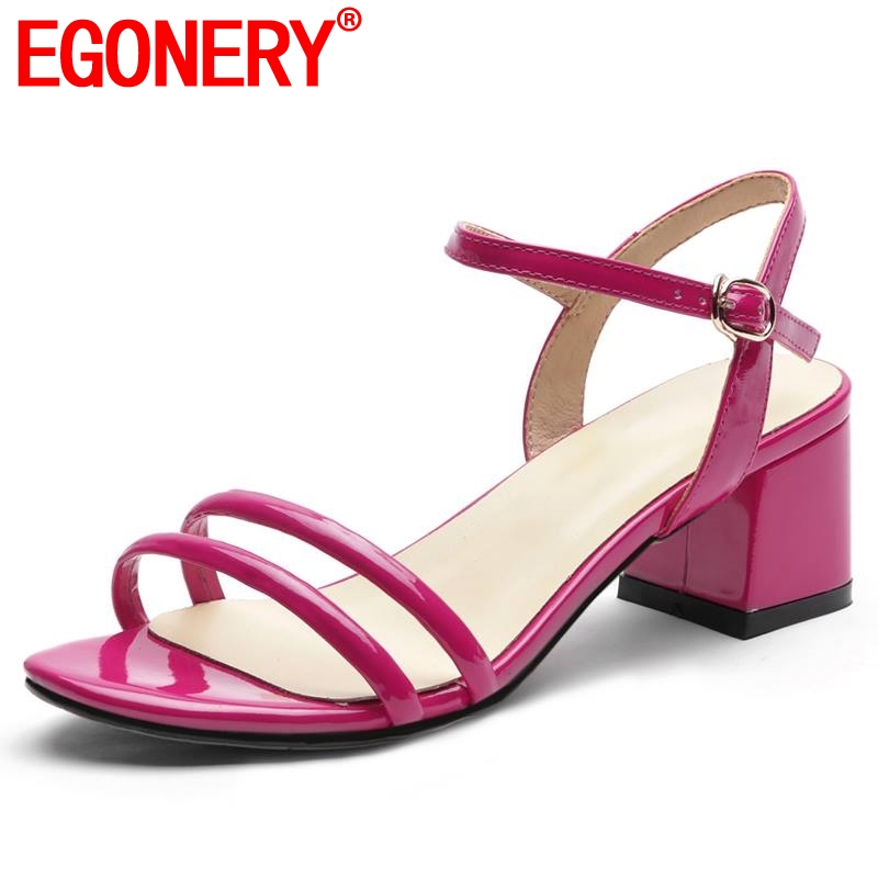 EGONERY brand sheepskin insole sandals fashion cute girl summer outdoor party white 5cm med heels woman