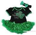 Meu primeiro dia de St Patrick preto conjunto de roupas de bebê NB-18Month