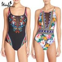 Sexy Mesh Floral Print One Piece Backless Swimwears Women Bathing Wear Swimsuit Monokini Trikini Triquini Maillot