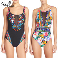 Sexy Mesh Floral Print One Piece Backless Swimwears Women Bathing Wear Swimsuit Monokini Trikini Triquini Maillot