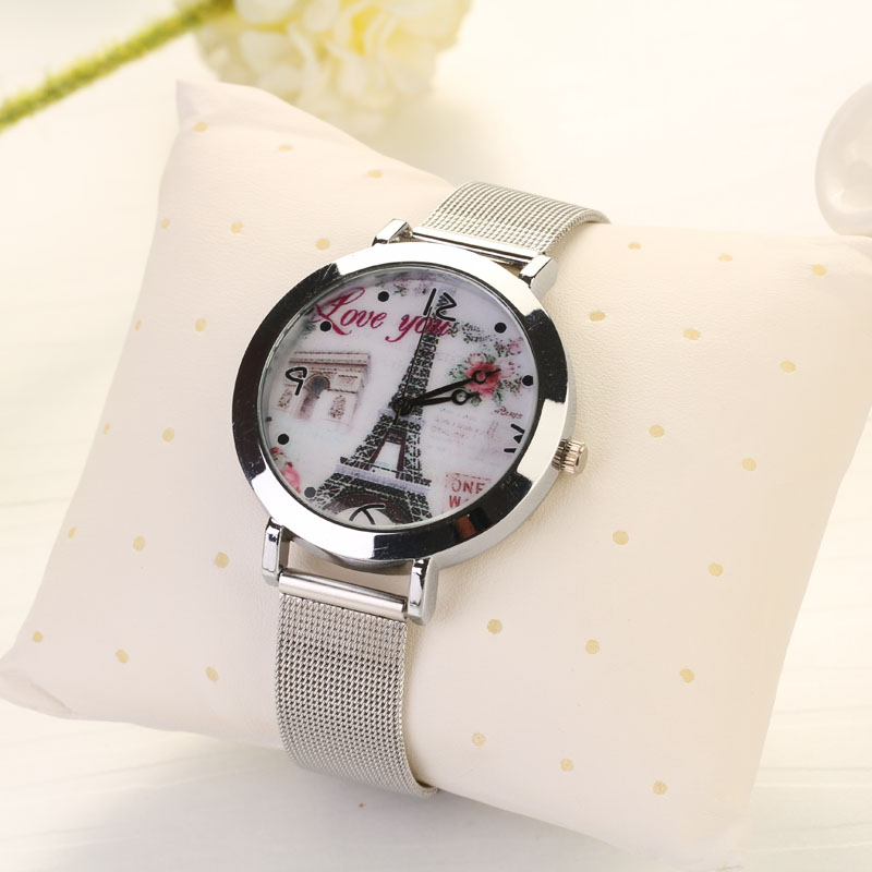 Women Quartz Dress Watch Lady Love Eiffel Tower Round Analog Mesh Strap Stainless Steel Bracelet Watch Montre Homme 2017 Lover's Watches