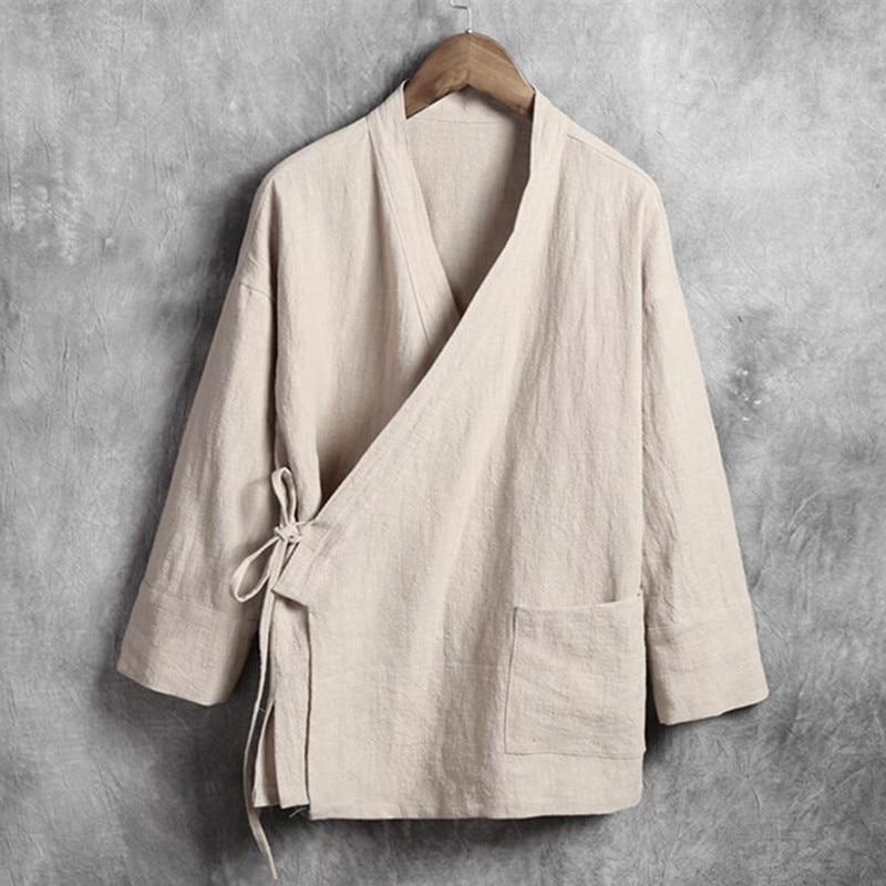 Men Linen Shirts Long Sleeve Chinese Style Mandarin Collar Traditional Kung Fu Tang Casual Social Shirt Plus Size M-4XL 5XL 6XL