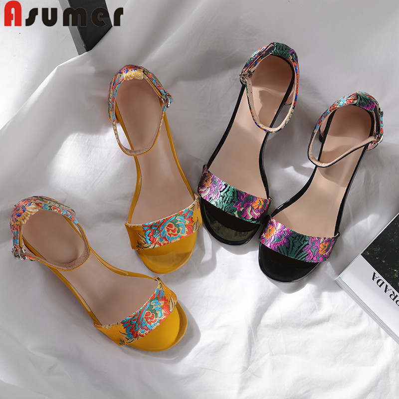 ASUMER Shoes Buckle Women Sandals Square High-Heels Ladies New Wedding Embroidery