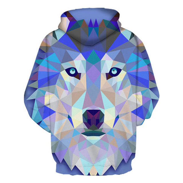 Mr.1991INC New Fashion Wolf Hoodies Men/Women Thin 3d Sweatshirts With Hat Print Colorful Blocks Wolf Hooded Hoodies 1