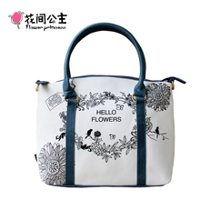 Flower Princess Canvas Large Tote Shoulder Crossbody Bags Women Handbags Ladies Hand Bags Bolsa Feminina Bolsos Mujer Tassen(China)