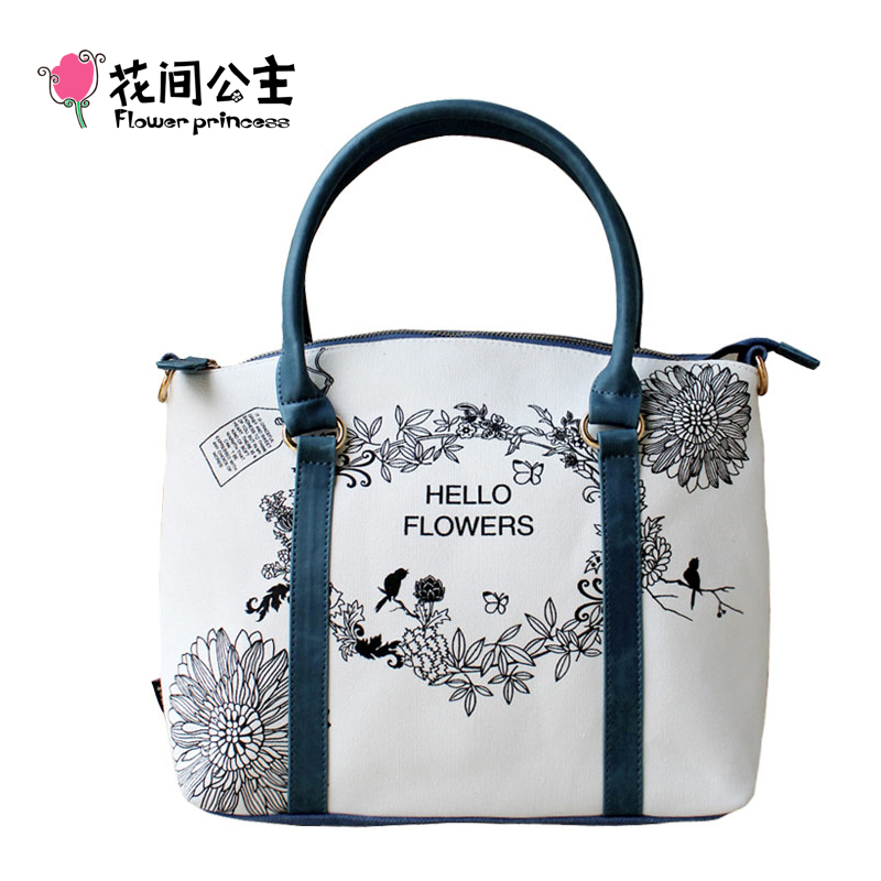 ФОТО Flower Princess Brand 2017 Women Canvas Shoulder Bags Handbags Floral Tote Bag Female Messenger Crossbody Bags sac femme 4SX001