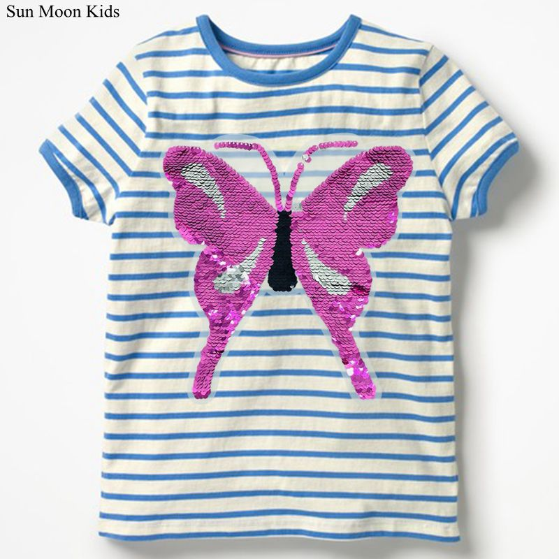 Girls T Shirt with Sequins Kids Tee shirt Fille 2018 Brand Baby boys T-Shirt Children Summer Clothing 100% Cotton Tops For Boys wa05820ba fantastic top quality luxury men t shirt 2018 summer europe designer t shirt men famous brand fashion tee tops