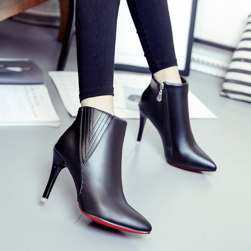 Big size 34-43 Women Short Ankle boots Sexy high-heel pointed toes Spring Autumn Winter shoes High-quality 6-24-c qplyxco 2017 new big size 34 47 ankle boot short autumn winter sexy women s pointed toe high heels wedding party shoes 584 2