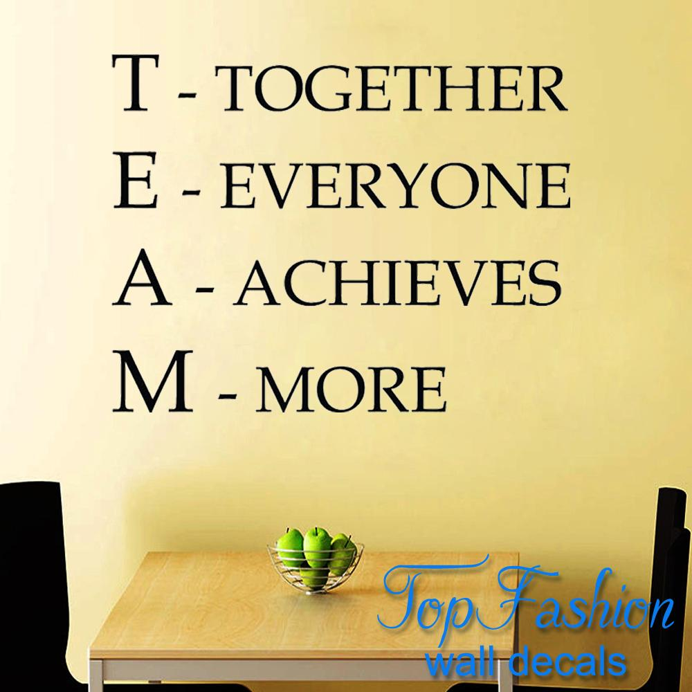 team motivational quote office wall sticker together everyone achieves more inspirational vinyl. Black Bedroom Furniture Sets. Home Design Ideas