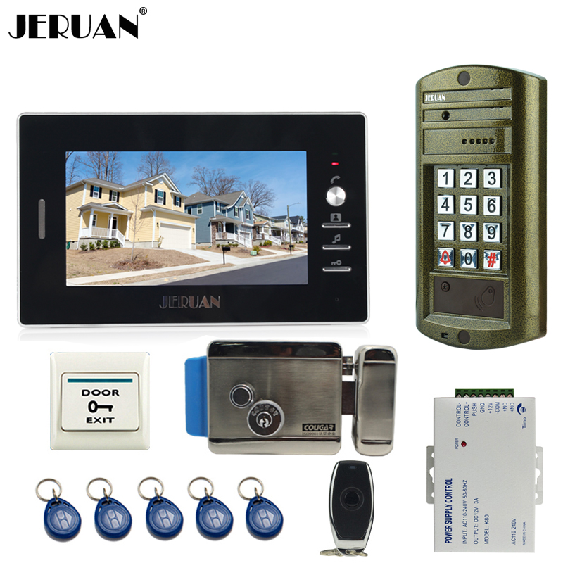JERUAN NEW 7 inch video intercom door phone system kit Metal waterproof password keypad HD Mini Camera + Electronic control lock jeruan home 7 inch video door phone intercom system kit new metal waterproof access password keypad hd mini camera 2 monitor