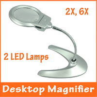 2X 6X Desktop Metall Leuchtlupe Ältere Menschen Leselupe Repair Tool Lupe mit 2 Led-lampen Tabelle Lupe