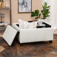 Justin 2 Tray Top Ivory Leather Ottoman Coffee Table W Storage