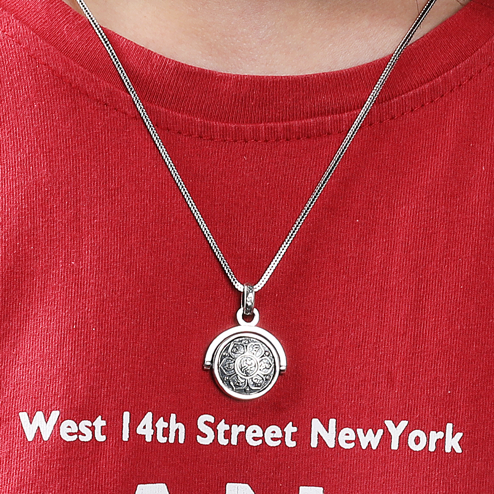 BALMORA 925 Sterling Silver Buddhism Spinner Rotating Charm Pendants&Necklace for Men Women Fashion Six Words' Sutra Jewelry