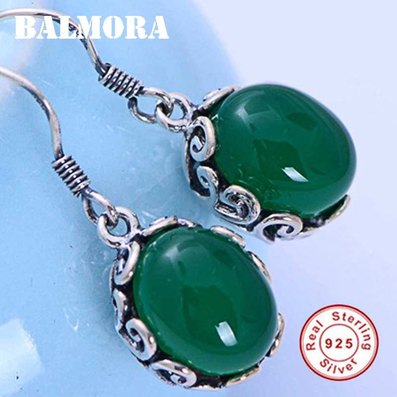 BALMORA 925 Sterling Silver Chalcedony Dangle Earrings For Women Lady Ear Line Bijoux Fashion Ethnic Jewelry Brincos JWE044776