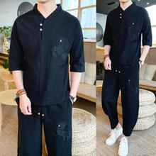 LOLDEAL Chinese Embroidery Horse Cotton Linen Mens Large Size Loose Trousers Short-sleeved T-shirt Summer Suit