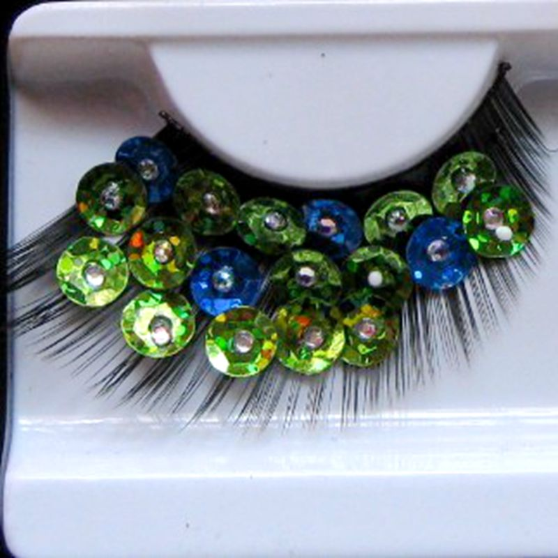 Colored Sequins False Eyelashes Fashion Exaggerated Makeup Stage Catwalk Fake Eyelashes Handmade Cotton Thread Stalk Lashes