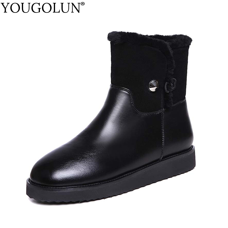 YOUGOLUN Women Snow Ankle Boots Genuine Leather 2017 Winter Flat 20 % Fur Lining Warm Shoes Black Round toe Leather Boots #Y-212 serene handmade winter warm socks boots fashion british style leather retro tooling ankle men shoes size38 44 snow male footwear