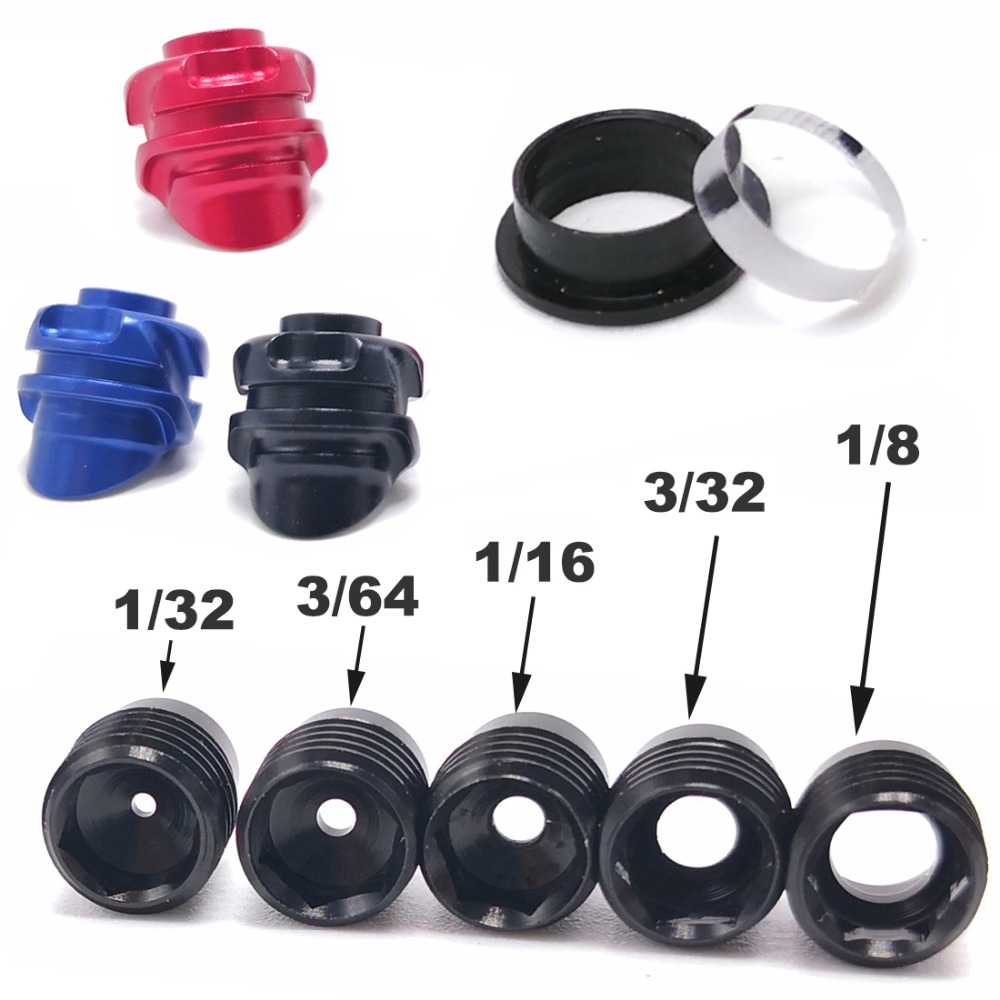 37/45 Degree Compound Bow Peep Sight With 5pcs Inner Core Aluminum Housing Clarifier Aperture Lens 8x 1/32 3/64 1/16 3/32 1/8