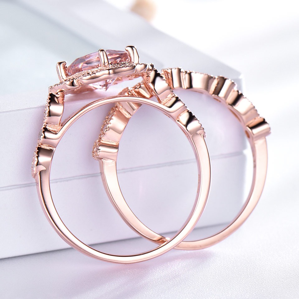 Image 3 - UMCHO 925 Sterling Silver Ring Set Female Morganite Engagement Wedding Band Bridal Vintage Stacking Rings For Women Fine Jewelry-in Rings from Jewelry & Accessories