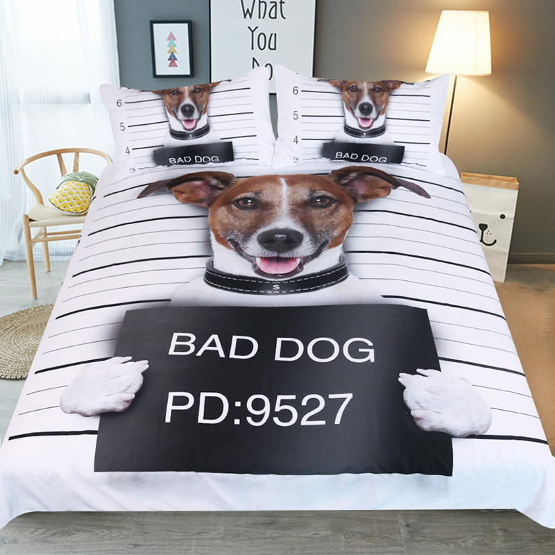 Winter Deluxe Bedding Print three piece set 3d Bad dog quilt pillowcase boy room decoration comfort Queen King size home textile