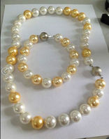elegant 10 11mm natural south sea gold white pearl necklace 18 bracelet 8 t (9.13)
