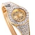 Mulheres Relógios Pulseira de Pedras Preciosas de Cristal relógio de Pulso Vestido de Relógios Das Mulheres Relógio de Ouro Relógio Marca de Moda Feminina