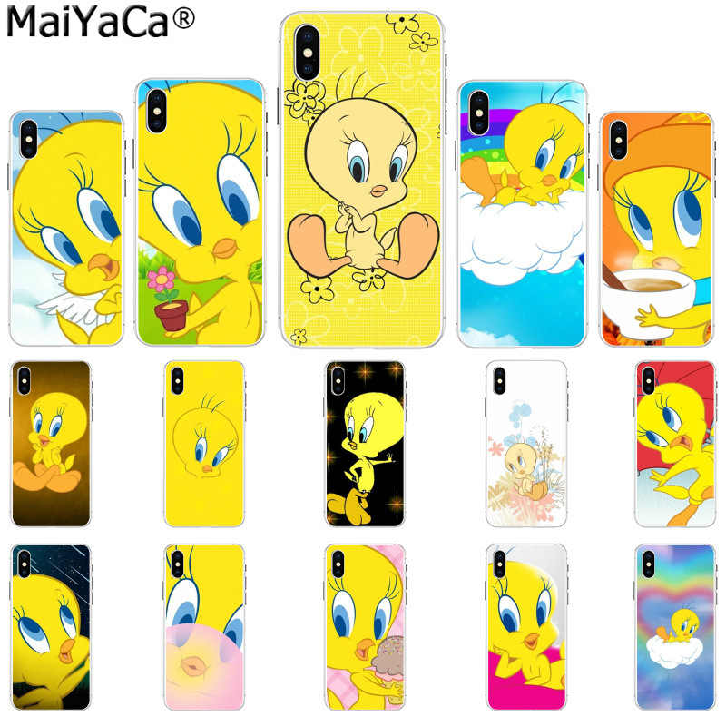 MaiYaCa funny Tweety Bird Novelty Fundas Phone Case Cover for iPhone 8 7 6 6S Plus 5 5S SE XR X XS MAX Coque Shell