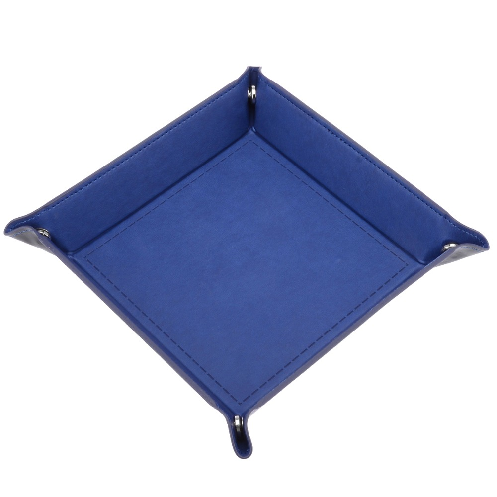Hot Sales Blue Dice Tray Desktop Tabletop Foldable PU Leather Dice Storage Box For Dice Table Games ゲーム ポート ピン
