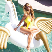 250CM Inflatable Gold Pegasus Unicorn Gaint Pool Float Mattress Sunbathe Mat Air Swimming Ring Circle Beach Sea Water Party Toys