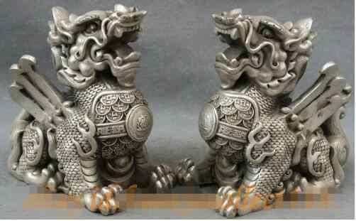 YM 306 Cinese Argento Guardia del Tempio Esorcizzare Gli Spiriti Maligni Drago Kylin Lion Statue Pair