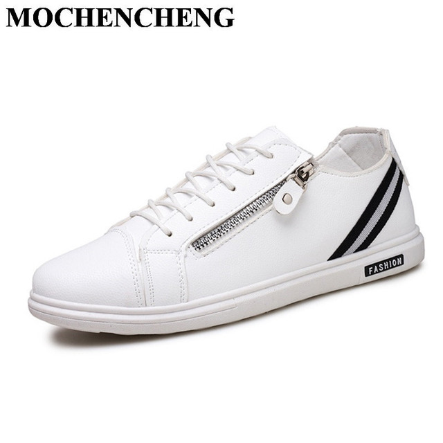 New Men Casual Shoes Spring Summer Lace-up Flat Leisure Shoes Fashion White  Shoes with Side Zipper Soft Leather Sneakers Z68 fe296777bd3