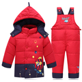 2016 Baby Girls Down Clothes Suits Children Boys Winter Warm Jacket Set Kids Baby Cute Coat Thick Clothing Down Clothing