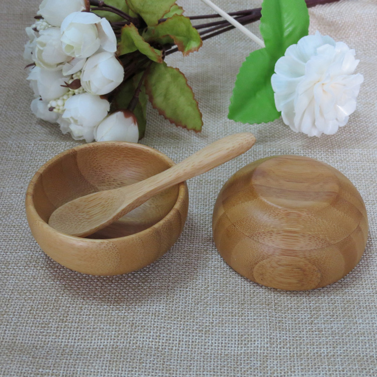10pcs/lot 50g Empty Bamboo Facial Mask Bowl with Spoon Cosmetic Wooden Mask Tools DIY Tableware Makeup Container-in Refillable Bottles from Beauty & Health    1