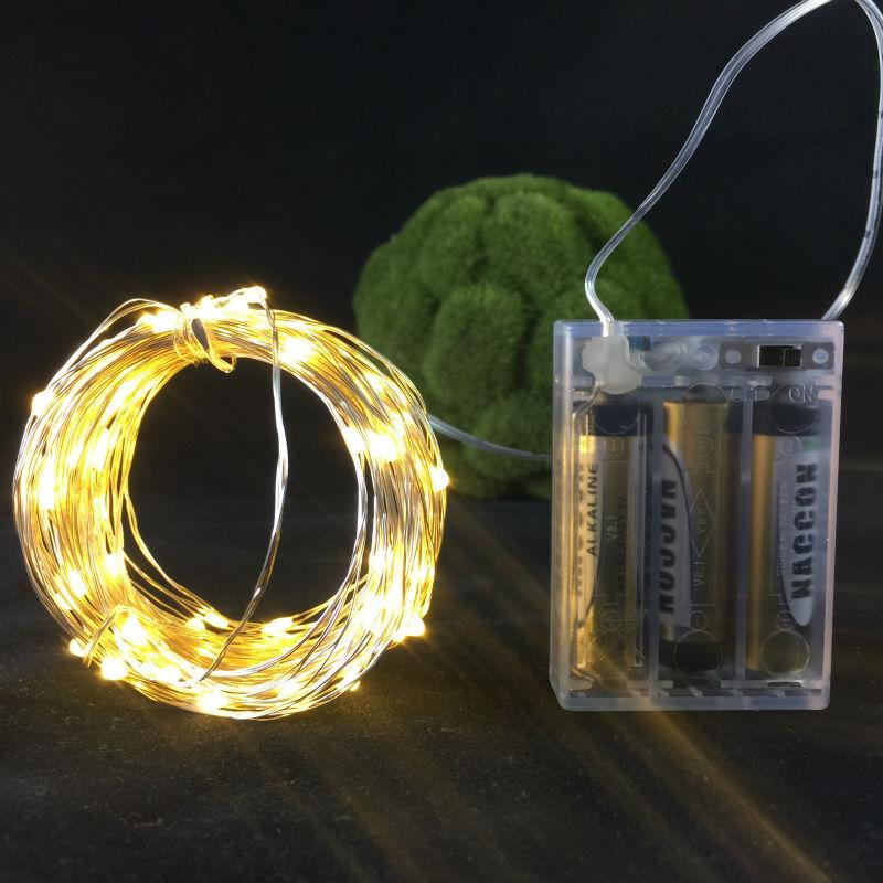 10M/100LEDs battery LED slivery wire string lights christmas festival wedding party decoration garland strip decorative lighting