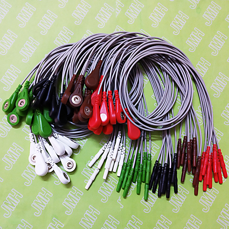 50pcs 1.5mm Din Series ECG AHA 5 lead cable and leadwires,Spo2 <font><b>sensor</b></font>,<font><b>EKG</b></font> EEG EMG electrode,IBP cable,NIBP cuff,Temprature probe image