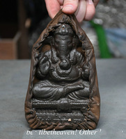 christmas 6.2 Old India Meteorite Leather Buddhism Ganesha Elephant Buddha Pendant Amulet halloween