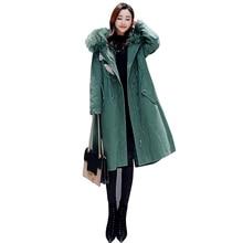 купить Women Fur Collar Jacket Warm 2019 New Coat Parka X-Long Hooded Jackets Leisure Plus Size Female Parkas Winter Thicking Outerwear по цене 14902.02 рублей