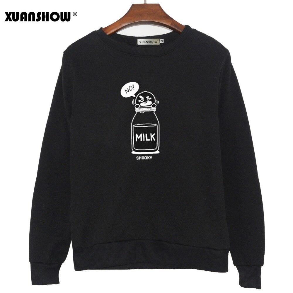 XUANSHOW 2019 BT21 SHOOKY CHIMMY Cartoon Milch Buchstaben Mode Sweatshirts Streetwear Mann frau Pullover Kleidung Sudaderas 5XL
