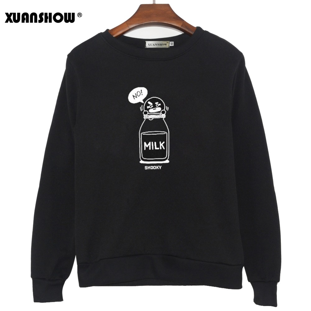 XUANSHOW 2019  SHOOKY CHIMMY Cartoon Milk Letters Fashion Sweatshirts Streetwear Man Woman Pullover Clothes Sudaderas 5XL