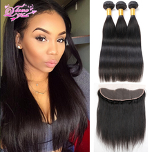 2016 Hot Ear To Ear Lace Frontal Straight With 3 Bundles 13×4 Brazilian Lace Frontal Closure Queen Weave Beauty Ltd Virgin Hair