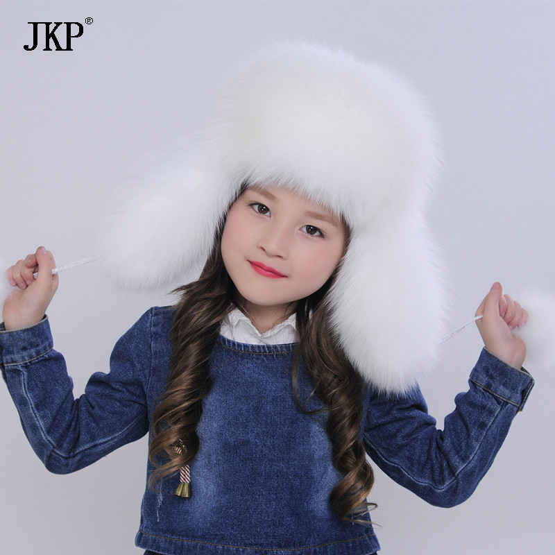 цена на JKP 2018 The latest genuine Fox fur hat cap winter children fur hats female Ear warmer Korean cute baby cap fashion hat HT-01