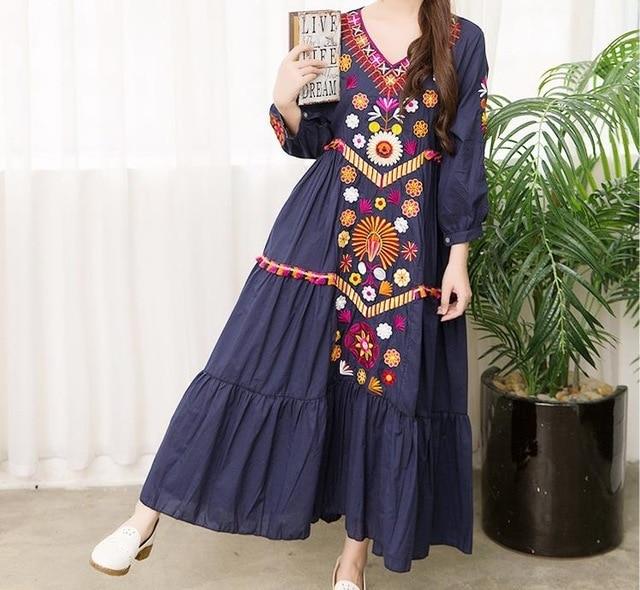 7af129ab2b3 ... Summer White Boho Vintage Style Hand Embroidered Tunic Mexican Dress  Hippie Puebla Retro Hippie Loose Vestidos ...