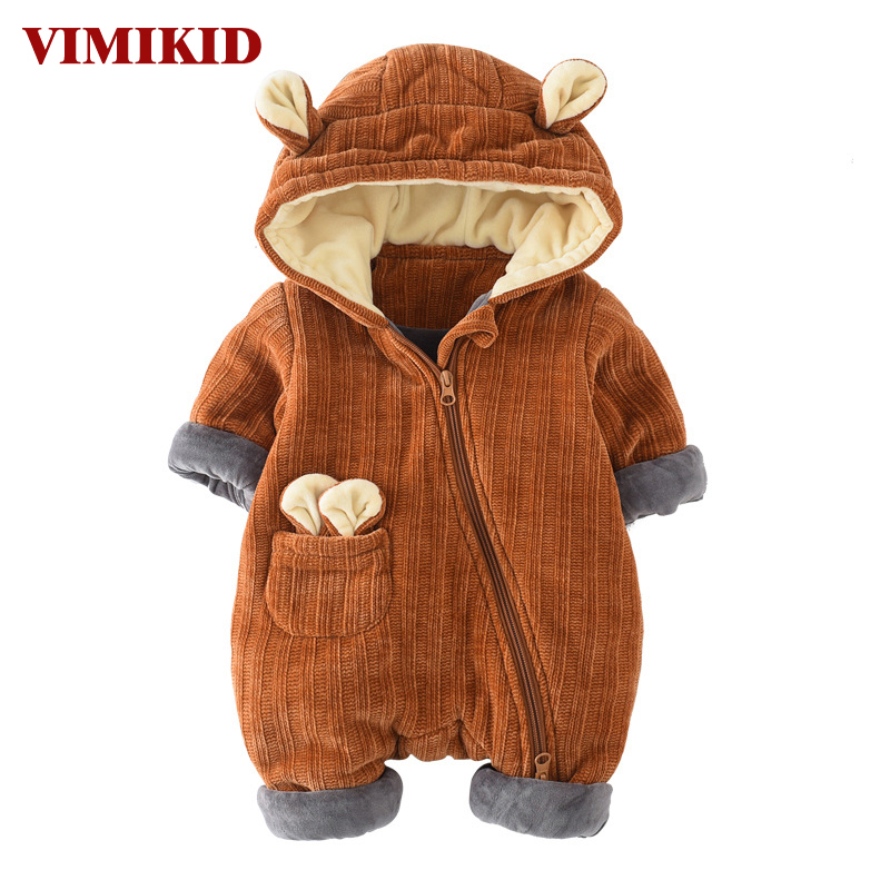 VIMIKID Newborn Baby Girls Boys Clothing Autumn Long Sleeve Cotton Solid Color Zipper Thickening Warm Children's Clothes Romper cotton baby rompers set newborn clothes baby clothing boys girls cartoon jumpsuits long sleeve overalls coveralls autumn winter