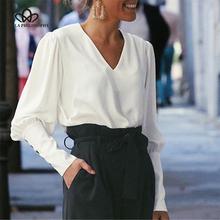 Wonder 2019 new springv-neck kobiety bluzka pełny guzik na rękawie biała bluzka koszula damska kobieta szyfon do biura bluzka topy tanie tanio Bella Philosophy Poliester REGULAR Stałe Pełna Łączone Suknem Na co dzień White S M L BL026SH