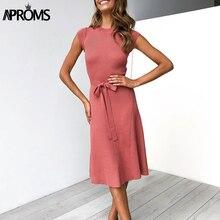 Aproms Elegant Stretch Ribbed Midi Dress Women Short Sleeve Sash Knitted Sweater Dresses Winter Solid Color Sheath Female Dress недорого