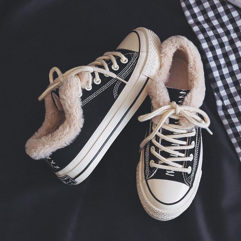 Повседневная парусиновая обувь для женщин джинсовая вулканизации с Мех животных теплые туфли без каблуков зима бархат Джинс - Цвет: black