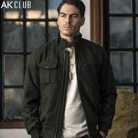 AK CLUB Brand Wool Jacket Vintage Style Army Men Short Coat Woolen Heather Yarn Front Pocket AK LOGO Zipper Men Jacket 1641025
